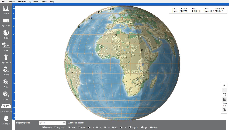 globe with grayline